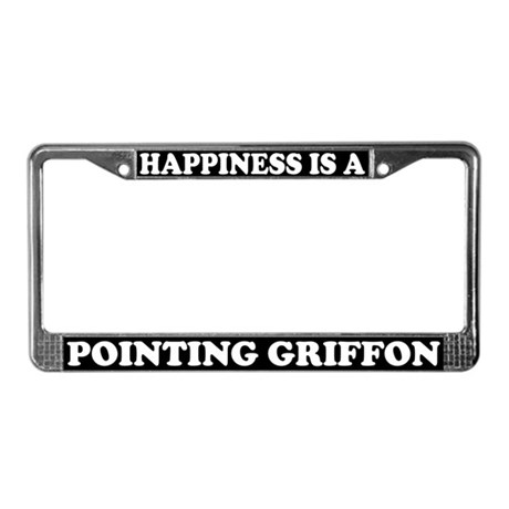 Happiness Pointing Griffon License Plate Frame