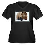 Wild Brothers Women's Plus Size V-Neck Dark T-Shir