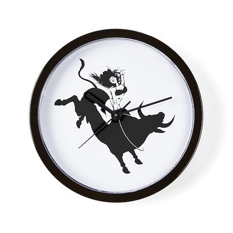 Black Bull Rider Wall Clock