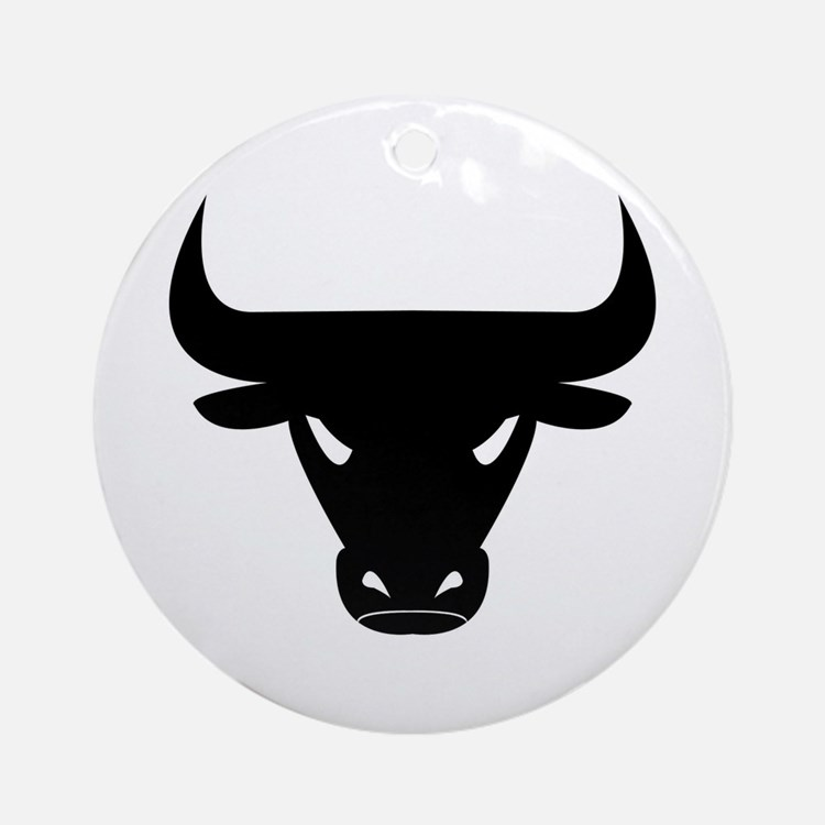 Black Bull Ornament (Round)