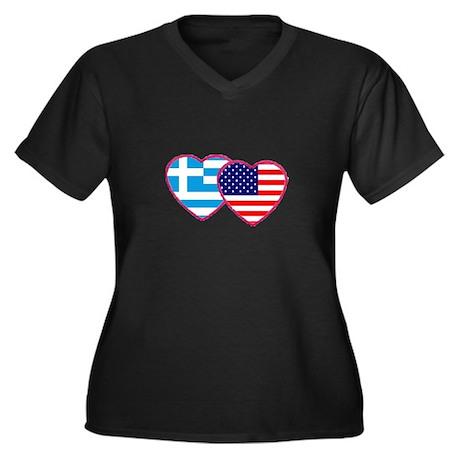 Greek American Hearts Women's Plus Size V-Neck Dar