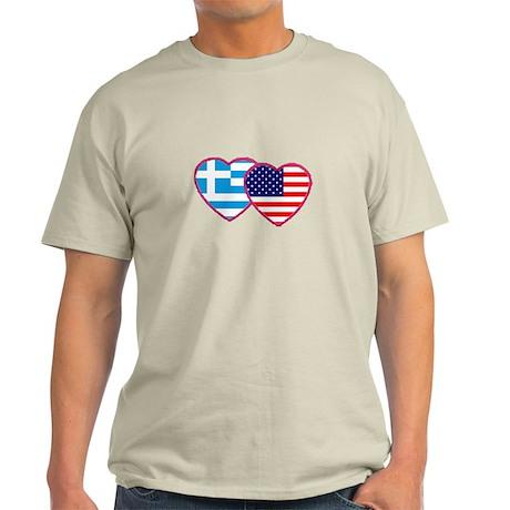 Greek American Hearts Light T-Shirt