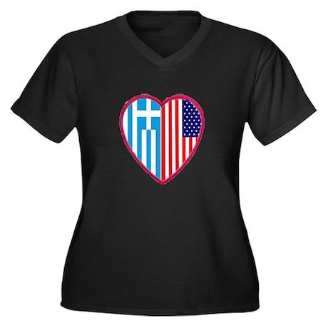 Greek American Heart Women's Plus Size V-Neck Dark