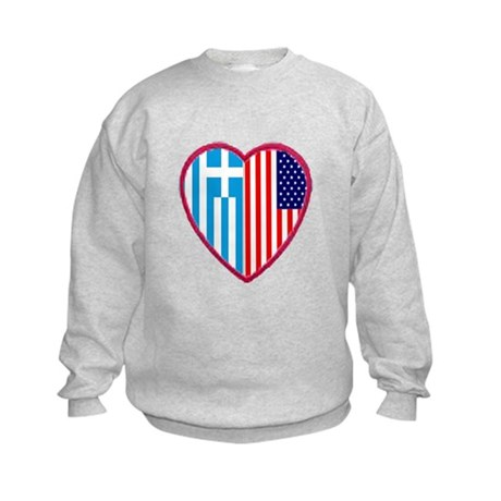 Greek American Heart Kids Sweatshirt