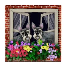 SCHNAUZER DOGS WINDOW Tile Coaster