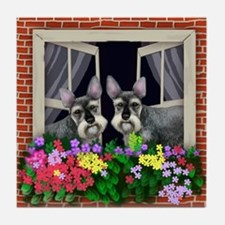 SCHNAUZER DOGS WINDOW Tile Coaster