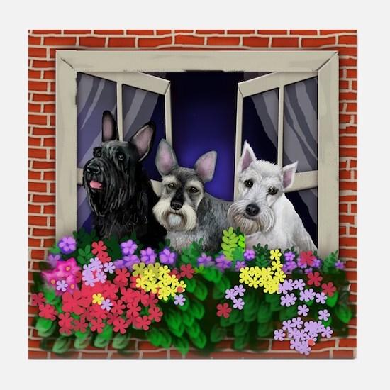 SCHNAUZER DOGS WINDOW FLOWERS Tile Coaster