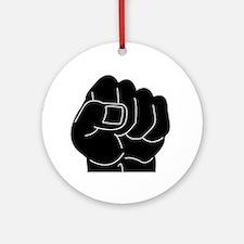 Black Power Fist Ornament (Round)