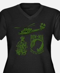 POW-MIA Green Women's Plus Size V-Neck Dark T-Shir