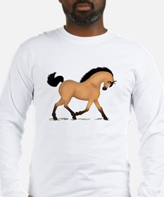 Trotting Buckskin Horse Long Sleeve T-Shirt