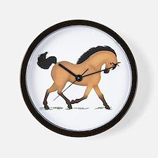 Trotting Buckskin Horse Wall Clock