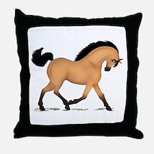Trotting Buckskin Horse Throw Pillow