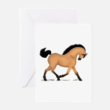 Trotting Buckskin Horse Greeting Cards (Pk of 10)