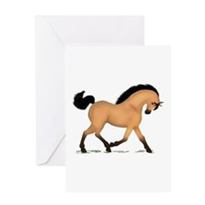Trotting Buckskin Horse Greeting Card