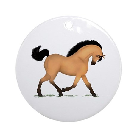 Trotting Buckskin Horse Ornament (Round)