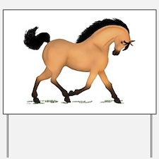 Trotting Buckskin Horse Yard Sign