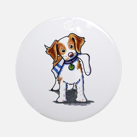 Playful Brittany Spaniel Ornament (Round)
