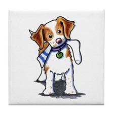 Playful Brittany Spaniel Tile Coaster