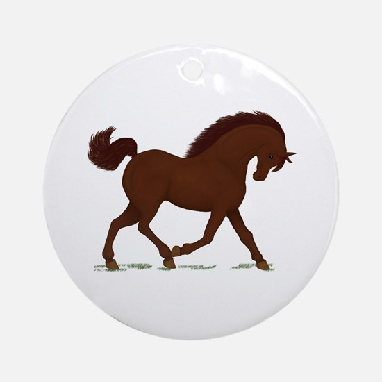 Trotting Brown Horse Ornament (Round)