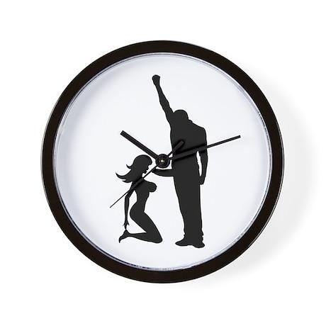 Black Power Female Kneels and Wall Clock
