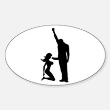 Black Power Female Kneels and Oval Decal