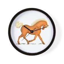 Bright Gold Palomino Horse Wall Clock