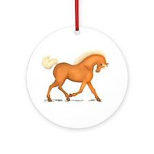 Bright Gold Palomino Horse Ornament (Round)