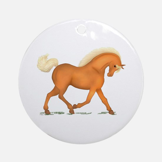 Bright Gold Palomino Horse Ornament (Round)