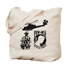 POW-MIA Black Tote Bag