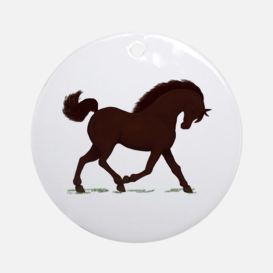 Trotting Dark Brown Horse Ornament (Round)