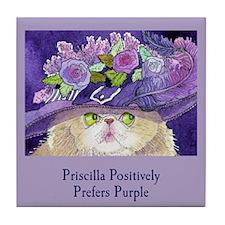 Priscilla CAT Prefers Purple Tile Coaster