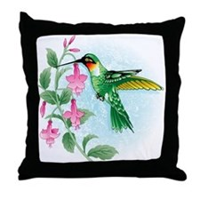 FUCIA HUMMINGBIRD Throw Pillow