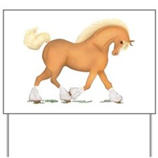 Palomino Clydesdale Horse Yard Sign