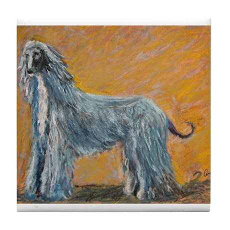 """Midnight"" a Afghan Hound Tile Coaster"