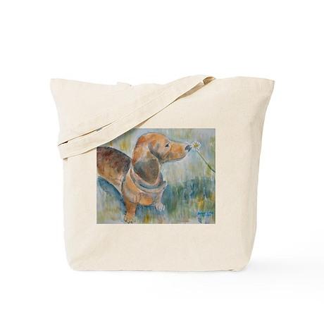 """Flower Child"" a Dachshund Tote Bag"
