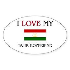 I Love My Tajik Boyfriend Oval Decal