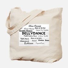 Names of Bellydance round Tote Bag