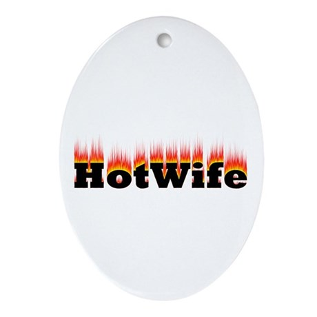 Flaming Hotwife Oval Ornament