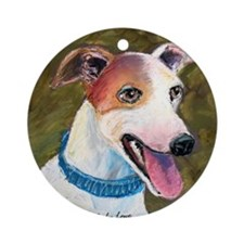 """""""Barney"""" a Whippet Ornament (Round)"""