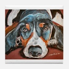 """Chip"" a Basset Hound Tile Coaster"