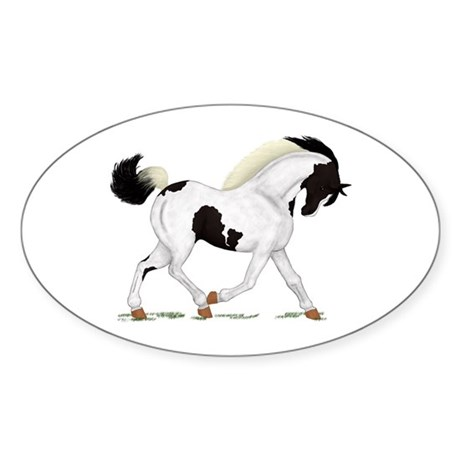 Black Paint Piebald Horse Oval Sticker