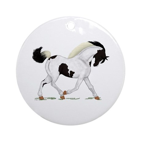 Black Paint Piebald Horse Ornament (Round)