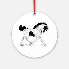 Black Piebald Gypsy Horse Ornament (Round)