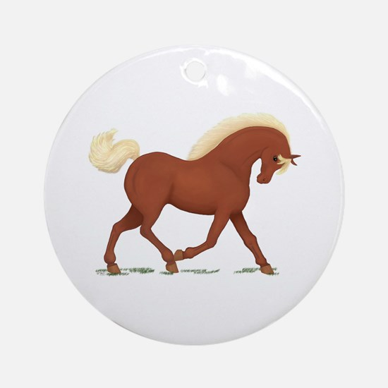 Trotting Sorrel Horse Ornament (Round)