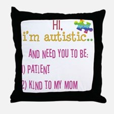 Hi,autism awareness tee Throw Pillow