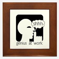 Shhh Genius at Work Framed Tile