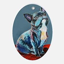 """Frenchman"" a French Bulldog Oval Ornament"