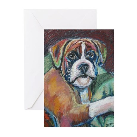 """""""Boxing"""" a Boxer Greeting Cards (Pk of 10)"""