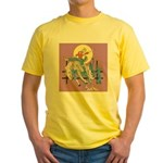 Sexy Cowgirl Riding Bronco Horse Yellow T-Shirt