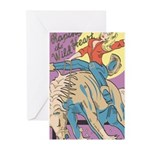 Sexy Cowgirl Riding Bronco Horse Greeting Cards (P